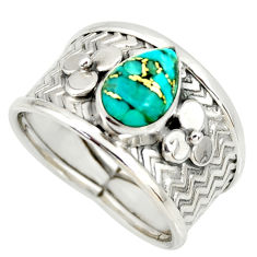 2.12cts blue copper turquoise 925 sterling silver solitaire ring size 7.5 r34486