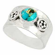 2.44cts blue copper turquoise 925 sterling silver solitaire ring size 8.5 r34632