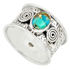 2.12cts blue copper turquoise 925 sterling silver solitaire ring size 7.5 r34685