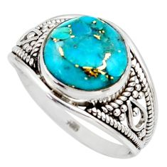 4.85cts blue copper turquoise 925 sterling silver solitaire ring size 7.5 r35427