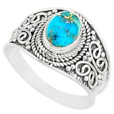 2.03cts blue copper turquoise 925 sterling silver solitaire ring size 8.5 r81402