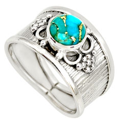 2.24cts blue copper turquoise 925 sterling silver solitaire ring size 8 r34651