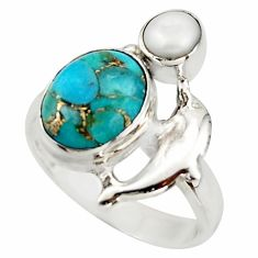 5.13cts blue copper turquoise pearl 925 sterling silver ring size 7 d46101