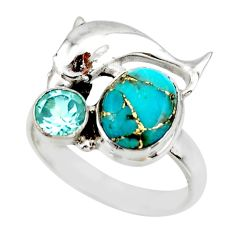 4.82cts blue copper turquoise topaz 925 silver dolphin ring size 8.5 r44930