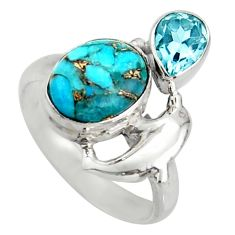5.87cts blue copper turquoise topaz 925 sterling silver ring size 7.5 d46145