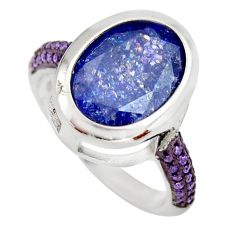 6.76cts blue crack crystal amethyst quartz 925 silver ring size 6.5 c9117