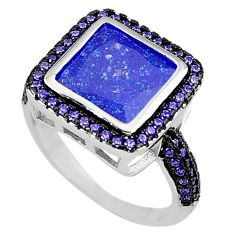 Blue crack crystal amethyst quartz 925 sterling silver ring size 8.5 c22932