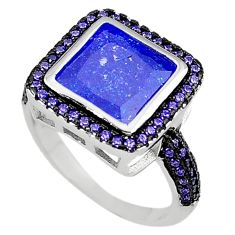 Blue crack crystal purple amethyst quartz 925 silver ring size 8.5 c22931