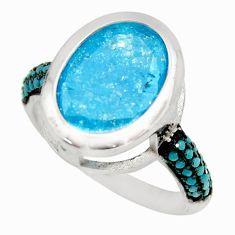 6.03cts blue crack crystal turquoise 925 sterling silver ring size 7 c9101