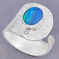 3.58cts blue doublet opal australian 925 silver adjustable ring size 9.5 r90599