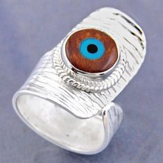 4.72cts blue evil eye talismans 925 silver adjustable ring jewelry size 6 r54766