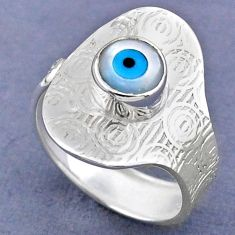 2.42cts blue evil eye talismans 925 silver adjustable ring size 8.5 r63305
