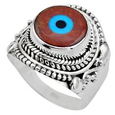 5.13cts blue evil eye talismans 925 silver solitaire ring jewelry size 6 r53401