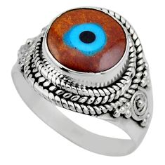 4.64cts blue evil eye talismans 925 silver solitaire ring jewelry size 7 r53405