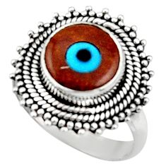 5.12cts blue evil eye talismans 925 silver solitaire ring jewelry size 8 r52655