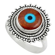 5.10cts blue evil eye talismans 925 silver solitaire ring size 7.5 r52476