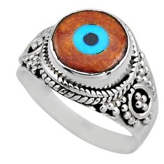 4.18cts blue evil eye talismans 925 silver solitaire ring size 6.5 r53403