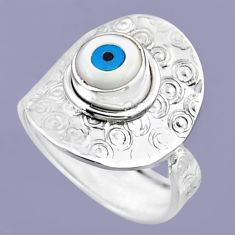 2.43cts blue evil eye talismans round 925 silver adjustable ring size 8 r54715