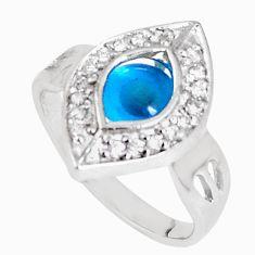 4.03cts blue evil eye talismans topaz 925 silver ring size 9.5 a94565 c24900