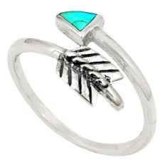 Blue kingman turquoise 925 sterling silver adjustable ring size 7.5 c10688