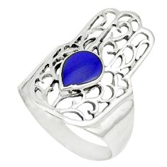 Blue lapis 925 sterling silver hand of god hamsa ring jewelry size 8.5 c12725