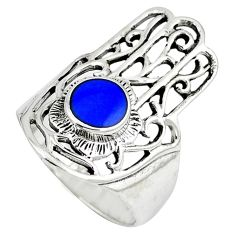 Blue lapis 925 sterling silver hand of god hamsa ring jewelry size 7.5 c12741