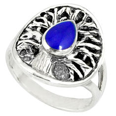 Blue lapis enamel 925 sterling silver tree of life ring jewelry size 7 c12357
