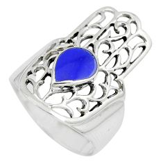 4.69gms blue lapis lazuli 925 silver hand of god hamsa ring size 7.5 c12817