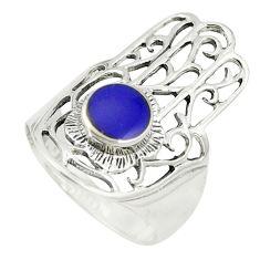 Blue lapis lazuli 925 silver hand of god hamsa ring jewelry size 7.5 c12069