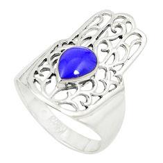 Blue lapis lazuli 925 silver hand of god hamsa ring jewelry size 8.5 c12722