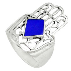 Blue lapis lazuli 925 sterling silver hand of god hamsa ring size 9 c12077