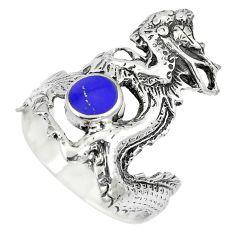 4.87gms blue lapis lazuli enamel 925 silver dragon ring jewelry size 8 c12629