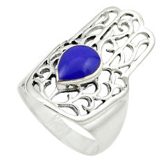 Blue lapis lazuli enamel 925 silver hand of god hamsa ring size 7.5 c12066