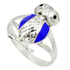 Blue lapis lazuli enamel 925 silver owl charm ring size 8.5 c11871