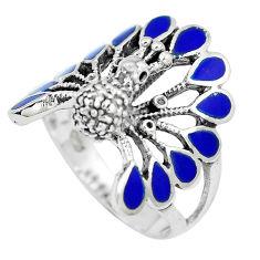 7.47gms blue lapis lazuli enamel 925 silver peacock ring size 9.5 c12406