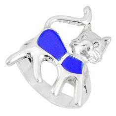 4.87gms blue lapis lazuli enamel 925 sterling silver cat ring size 7 c12833