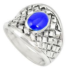 Blue lapis lazuli enamel 925 sterling silver ring size 6.5 c12167