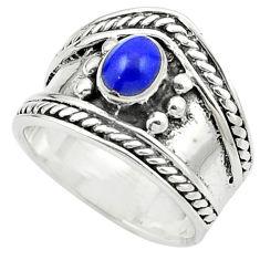 Blue lapis lazuli enamel 925 sterling silver ring jewelry size 5.5 c12019