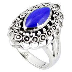 Blue lapis lazuli enamel 925 sterling silver ring jewelry size 8.5 c12033