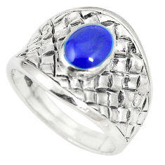 Blue lapis lazuli enamel 925 sterling silver ring jewelry size 8.5 c12179