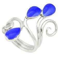 Blue lapis lazuli enamel 925 sterling silver ring jewelry size 7.5 c12799
