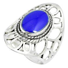 5.63gms blue lapis lazuli enamel 925 sterling silver ring jewelry size 7 c12767