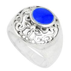 6.87gms blue lapis lazuli enamel 925 sterling silver ring size 7 c22358