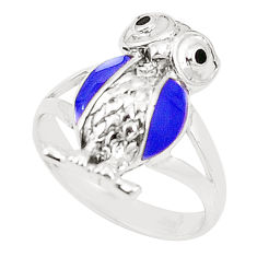 Blue lapis lazuli onyx 925 sterling silver owl ring jewelry size 6.5 c12692
