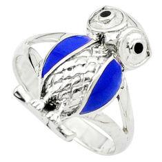 Blue lapis lazuli onyx enamel 925 sterling silver owl ring size 7 c11878