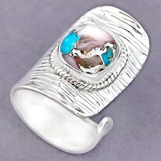 5.10cts blue opal in turquoise 925 silver adjustable ring size 6.5 r90619
