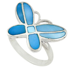 Blue pearl enamel 925 sterling silver butterfly ring jewelry size 7 c22735