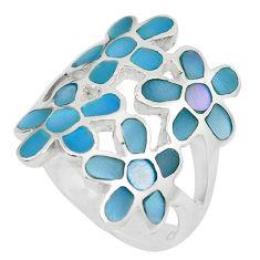 6.26gms blue pearl enamel 925 sterling silver flower ring jewelry size 6 c12954