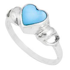2.47gms blue pearl enamel 925 sterling silver heart ring size 7.5 c12267