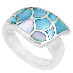 6.87gms blue pearl enamel 925 sterling silver ring size 6.5 a88529 c13329